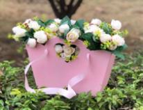 Коробка для Цветов Сердце Розовое 244*10*188 30шт/ т.м.